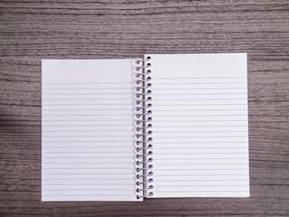 Dark Wood Desk, Open Spiral Notebook