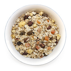 Bowl of Muesli Isolated on White Top View