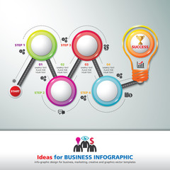 BULB ICON WITH IDEA CONCEPT. INFO GRAPHIC for business, marketing, creative, web design and graphics. Info-graphic inspire to drive your business project. Vector illustration.