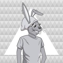 rabbit animal hipster style triangule background vector illustration eps 10
