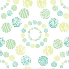 Around motif with polka dot. Vector seamless pattern.