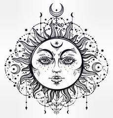 Boho Sun. Vintage vector decorative drawing.