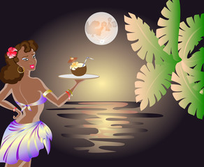 Sunset on the sea with a waitress with an exotic cocktail in a coconut with a palm leaf. EPS10 vector illustration