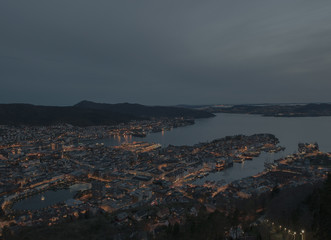Aerial view of Bergen city before twilight time, Bergen, Norway