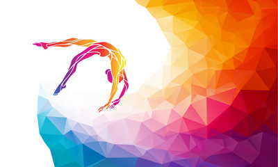 Creative silhouette of gymnastic girl. Art gymnastics vector