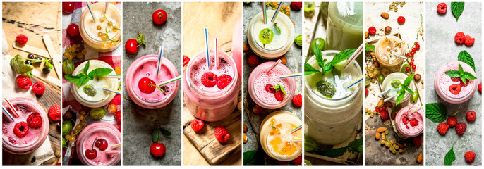 Food collage of berry smoothie .