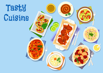 Potato dishes for dinner menu icon for food design