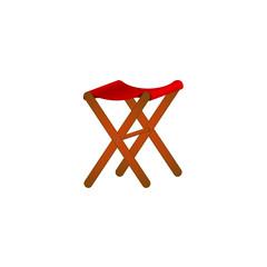 Folding wooden stool in retro design