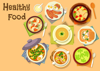Soup dishes icon for healthy lunch menu design