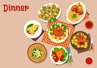 Meat dishes with appetizers icon food theme design
