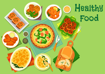 Vegetable and fish dishes icon for lunch design