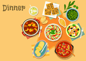 French cuisine vegetable and meat dishes icon