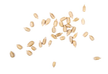 hulled sunflower seeds isolated on white background
