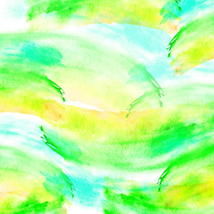 Card, card abstract natural vision paints, ink, watercolor. Drawn green, yellow, blue. For decoration and design. Splash, bright streaks of paint. Bright stylish design