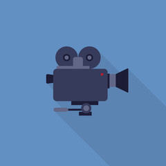 Flat Design of Video Camera, Camera Recorder vector illustration