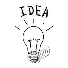 Concept ideas while working. hand drawn Light bulb vector illust