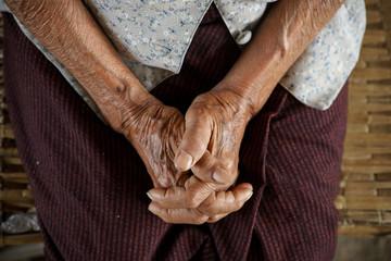 Pray of senior asian woman