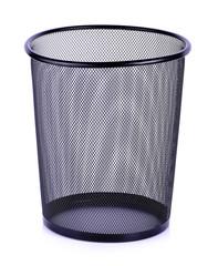 Empty trash, clean garbage bin, metal basket bin for waste paper