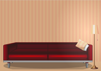 The interior of the room. Lit lamp. Evening time. Red sofa. Style, pattern, design. Vector illustration.