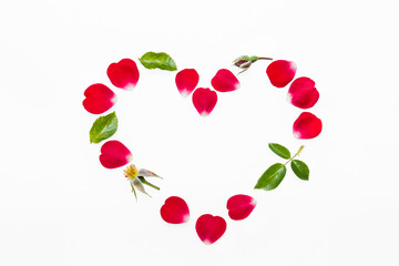 rose petals and leaves heart isolated on white background