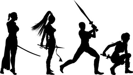 剣を持つ女のシルエット