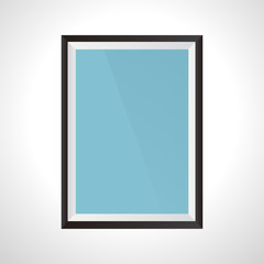 Frame isolated on white background. Blank frame with blue background. Mockup for text or design. Poster design mockup. Vector illustration