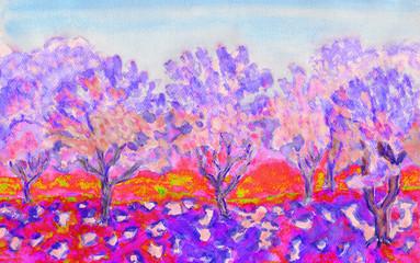 Pink spring garden, watercolors