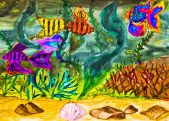 Fishes in water, watercolor