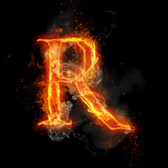 Fire letter R of burning flame light