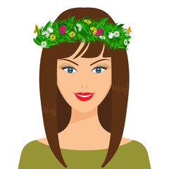 Vector happy spring girl. Floweres, leaves and butterfly on her hair. Flat color style design. Ideal for cosmetic ads