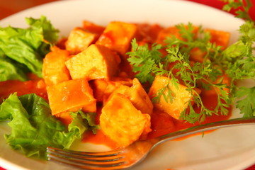 roasted tofu in tomato parsley vegetable sauce