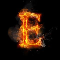 Foto op Aluminium Vlam Fire letter E of burning flame light
