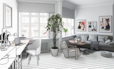 Wohnzimmer mit Einrichtung (Projekt)