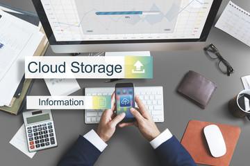 Cloud Storage Data Backup Transfer Concept