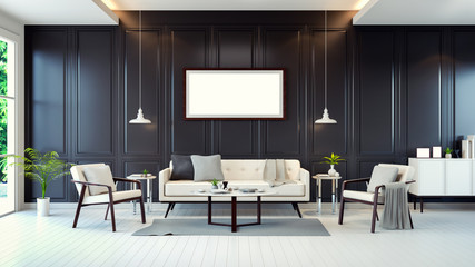 modern contemporary room interior ,white sofa,cabinet ,table on white floor and black wall and  mock up frame ,3d rendering