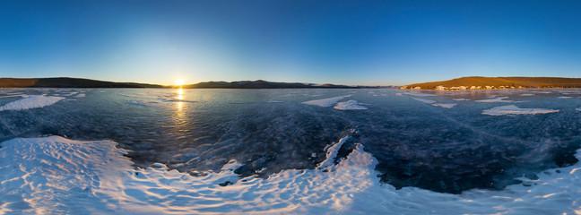 Spherical Panorama 360 degree sunrise on the island of Olkhon, s
