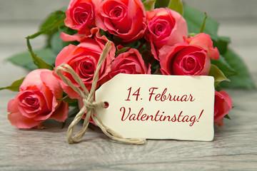 14. Februar-Rosen zum Valentinstag