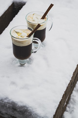 Cups of hot chocolate winter outdoors