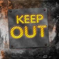 Keep Out - Leuchtschrift METALL - D