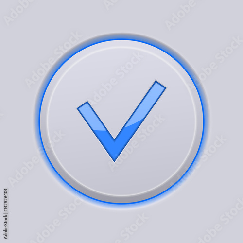 """Submit button. Blue check icon on gray plastic background ..."