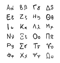 Doodle greek alphabet letters. Hellenic hand drawn vector font