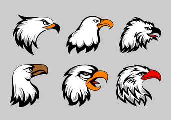 Bald eagle mascot heads vector illustration. American eagles head set for logo and labels