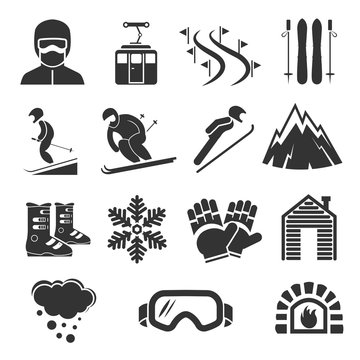 Ski resort sports icons. Winter snow skiing sport signs