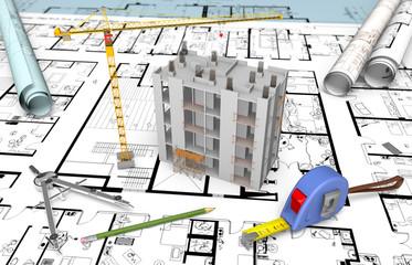 Maquette chantier immeuble en construction