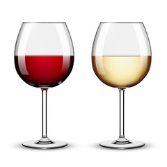 Glass of Red Wine and White Wine against White Background