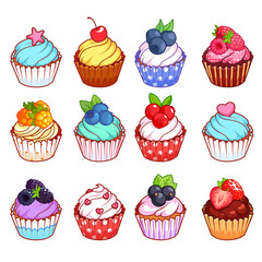 Set of cupcakes with different toppings.