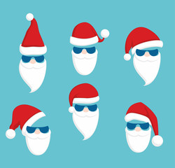 Set of Santa Claus faces with sun glasses. Christmas clothes holiday elements on blue background