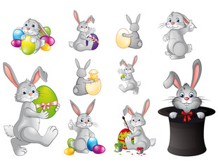Funny Easter bunny collection gray