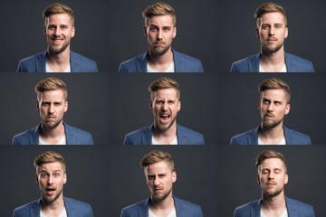 Mann zeigt verschiedene Emotionen