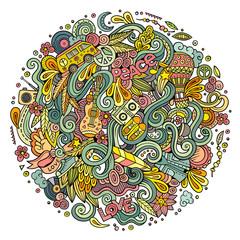 Cartoon hand-drawn doodles hippie illustration